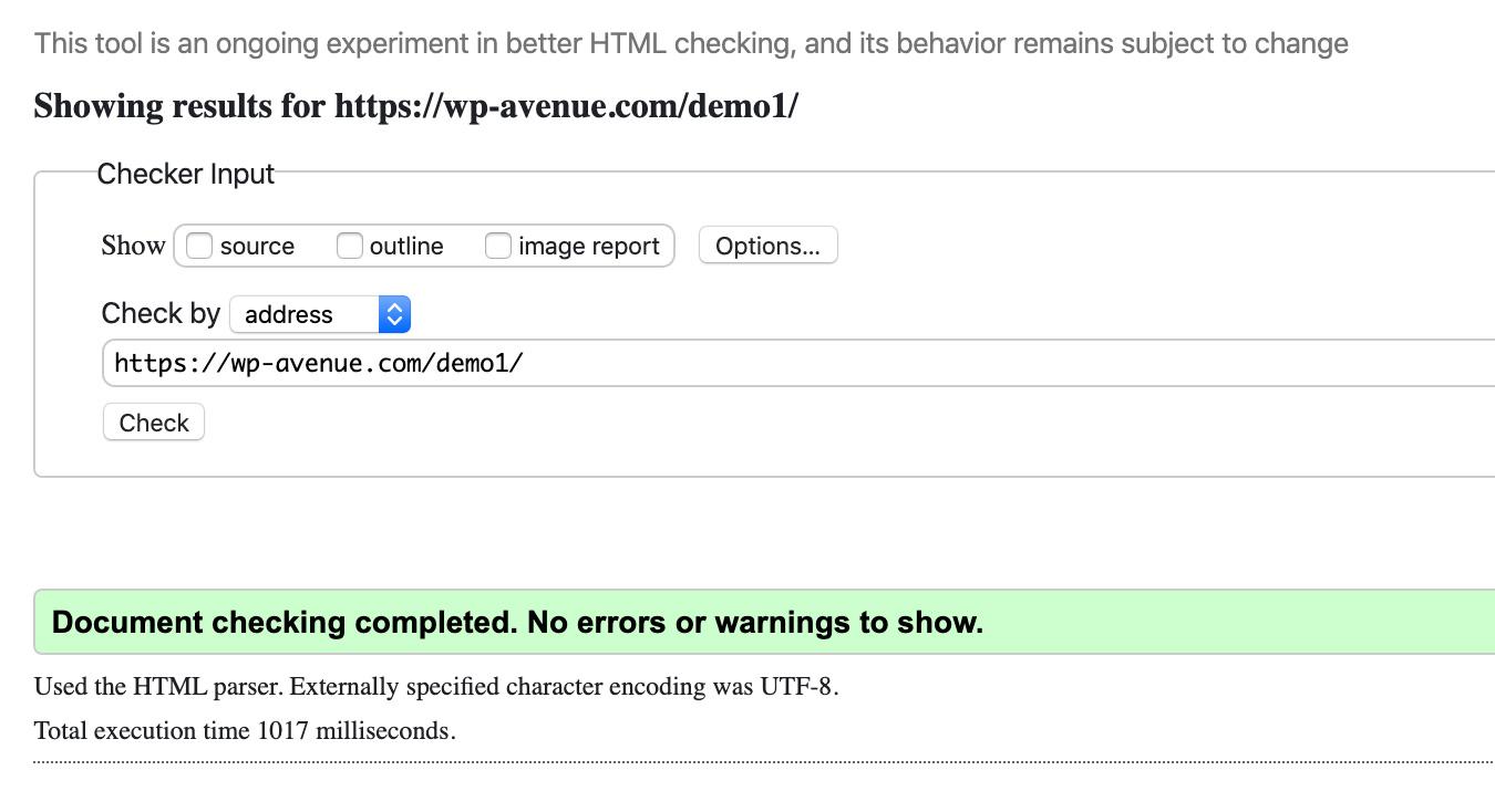 W3Cバリデーションチェック結果